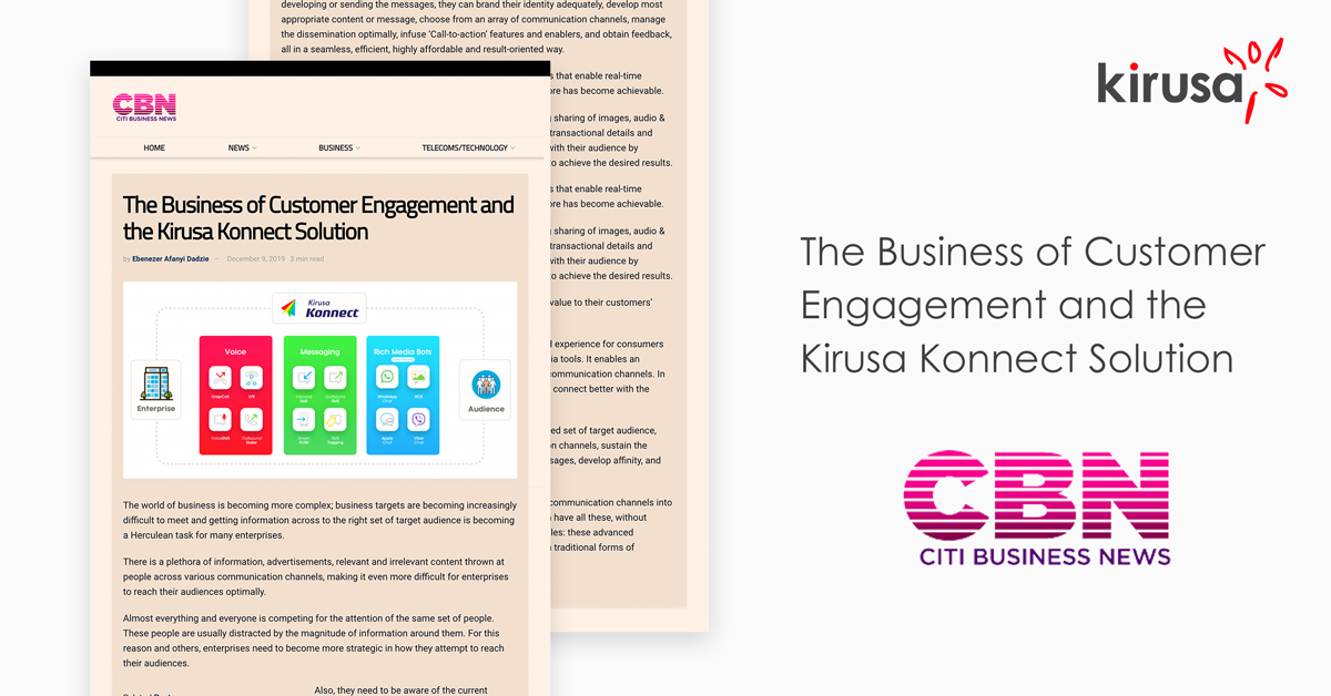 The Business of Customer Engagement and the Kirusa Konnect Solution